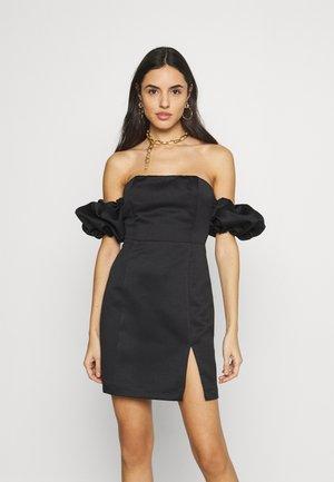 PUFF SLEEVE BARDOT DRESS - Shift dress - black