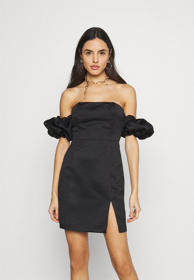 PUFF SLEEVE BARDOT DRESS - Tubino - black