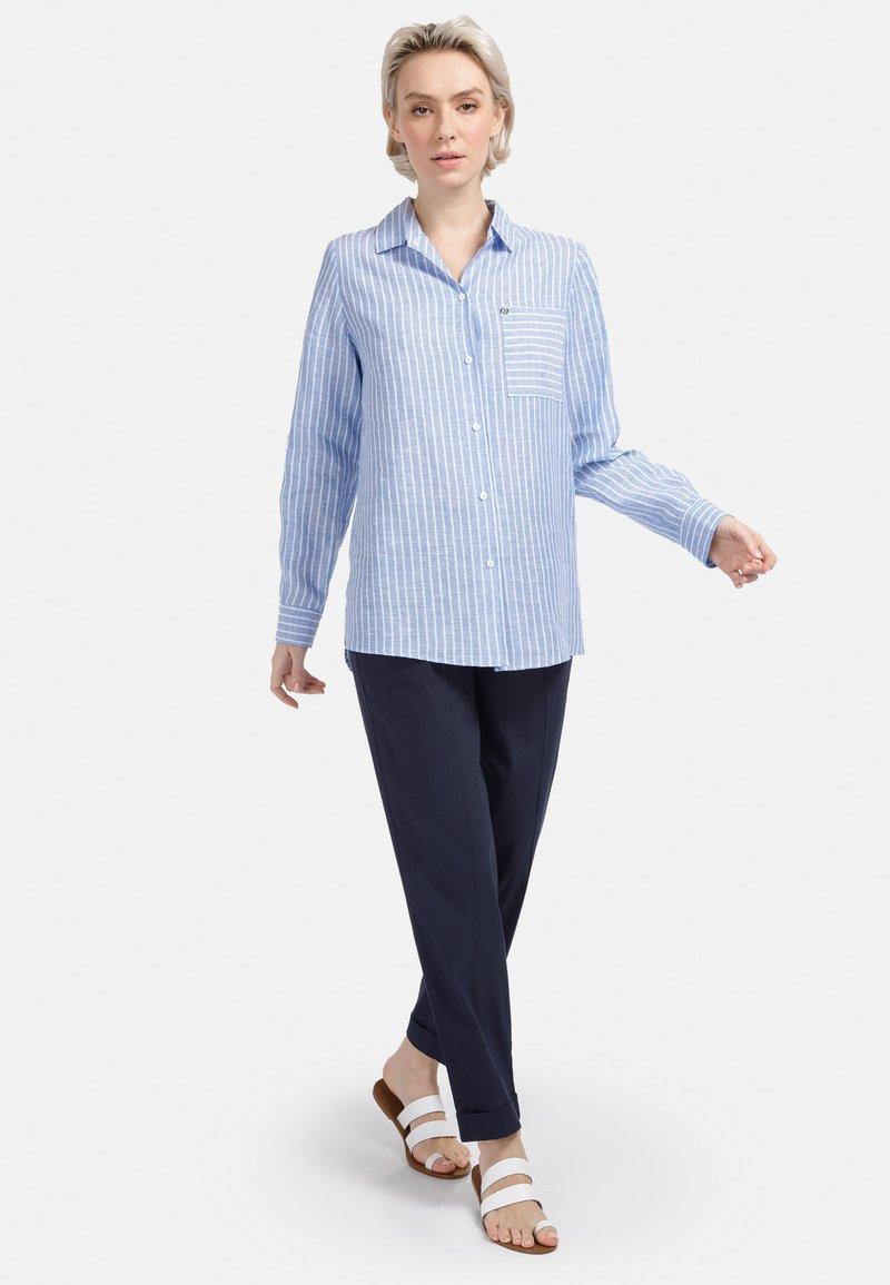HELMIDGE - Button-down blouse - weiss hellblau