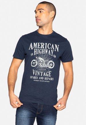 Print T-shirt - navy slub