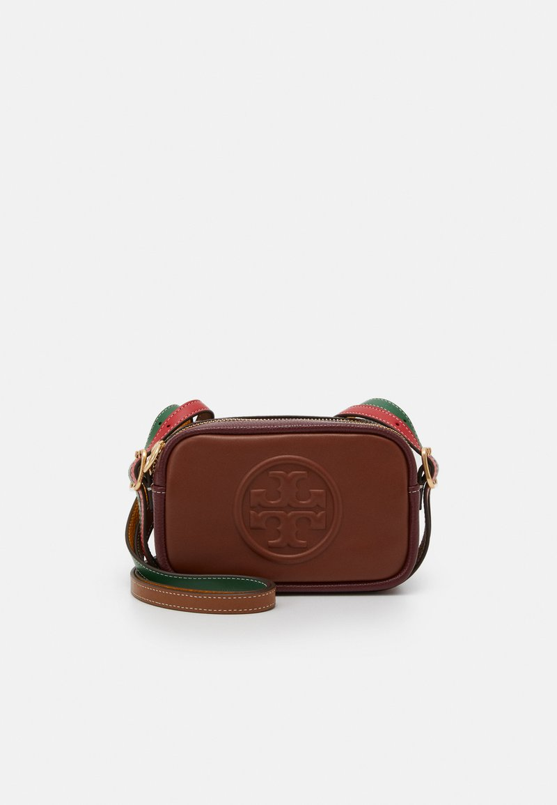 Tory Burch - PERRY BOMBE DOUBLE STRAP MINI BAG - Taška s příčným popruhem - english tan/claret