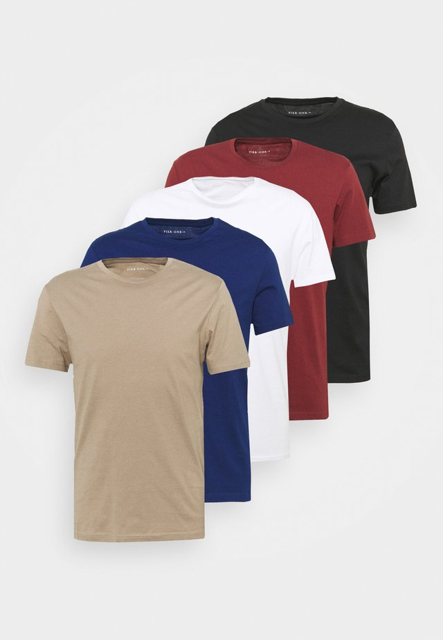 5 PACK - T-shirt basic - white/black/bordeaux