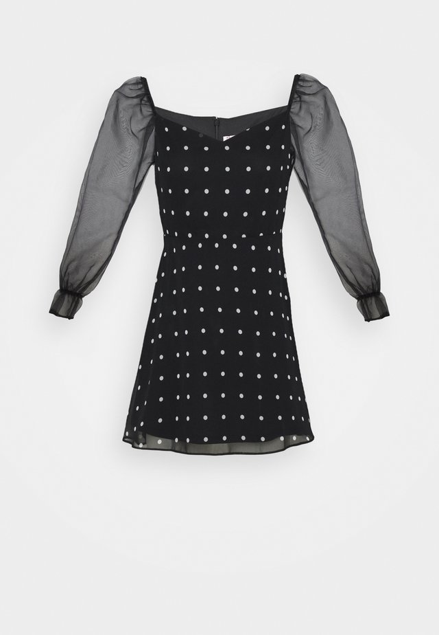 MIX SPOT DRESS - Denní šaty - black