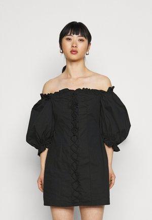 RUCHED MILKMAID DRESS - Day dress - black