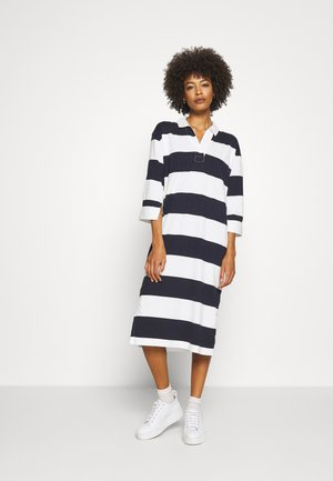 FEMININE STRIPED RUGGER DRESS - Pouzdrové šaty - evening blue