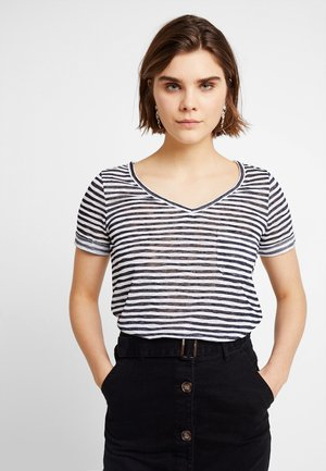 OBJTESSI SLUB V NECK - T-shirt basic - sky captain/white stripes