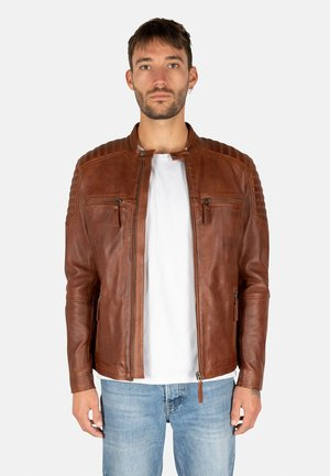 S-W STRIPES - Leren jas - cognac brown