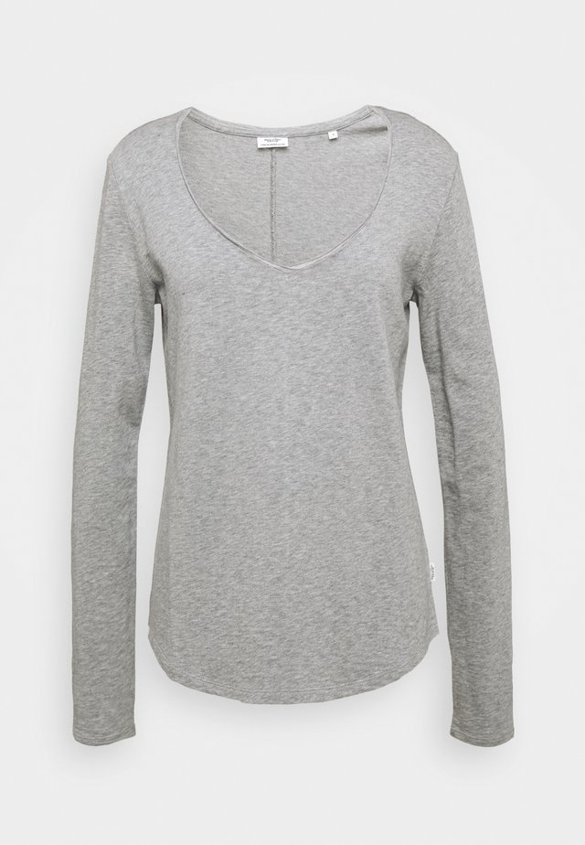 LONGSLEEVE V NECKDETAIL ON NECKLINE BASIC FIT - Long sleeved top - stone melange
