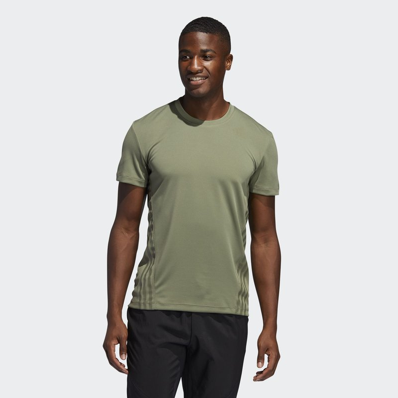 adidas Performance - AEROREADY TRAINING SLIM SHORT SLEEVE TEE - Triko s potiskem - green