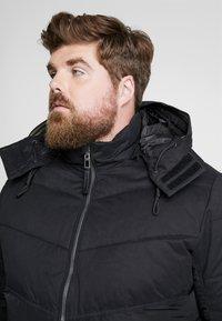 TOM TAILOR MEN PLUS - PUFFER JACKET WITH HOOD - Light jacket - black - 6