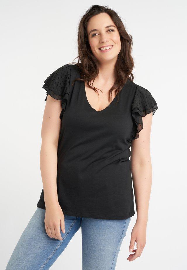 MET SIERLIJKE MOUWTJES - T-shirt print - black