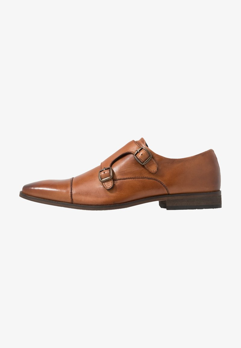 Pier One - LEATHER - Smart slip-ons - cognac