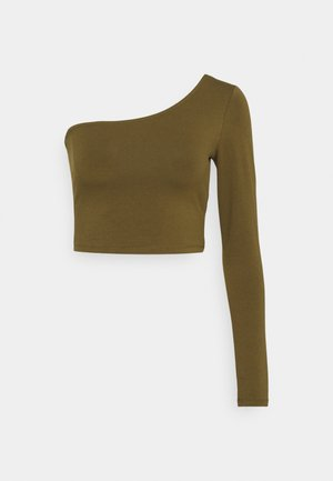 ONE SLEEVE CROP TOP - Long sleeved top - khaki
