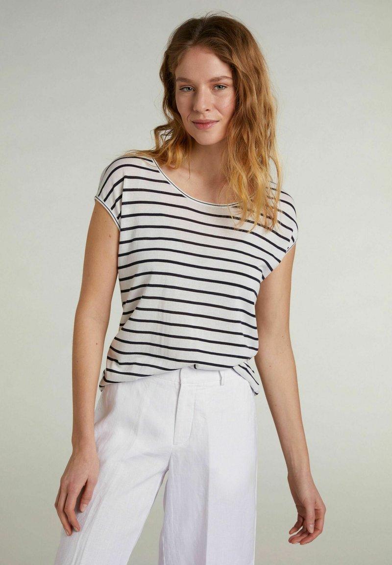 Oui - Print T-shirt - white blue