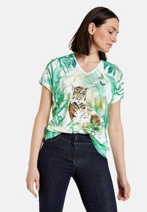 Print T-shirt - ecru/weiss/blau ringel