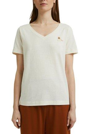 V NECK - Print T-shirt - off white