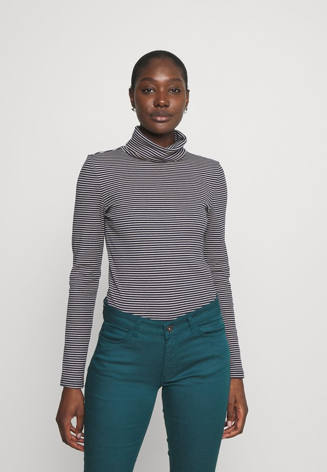 TURTLE NECK - Long sleeved top - navy/creme