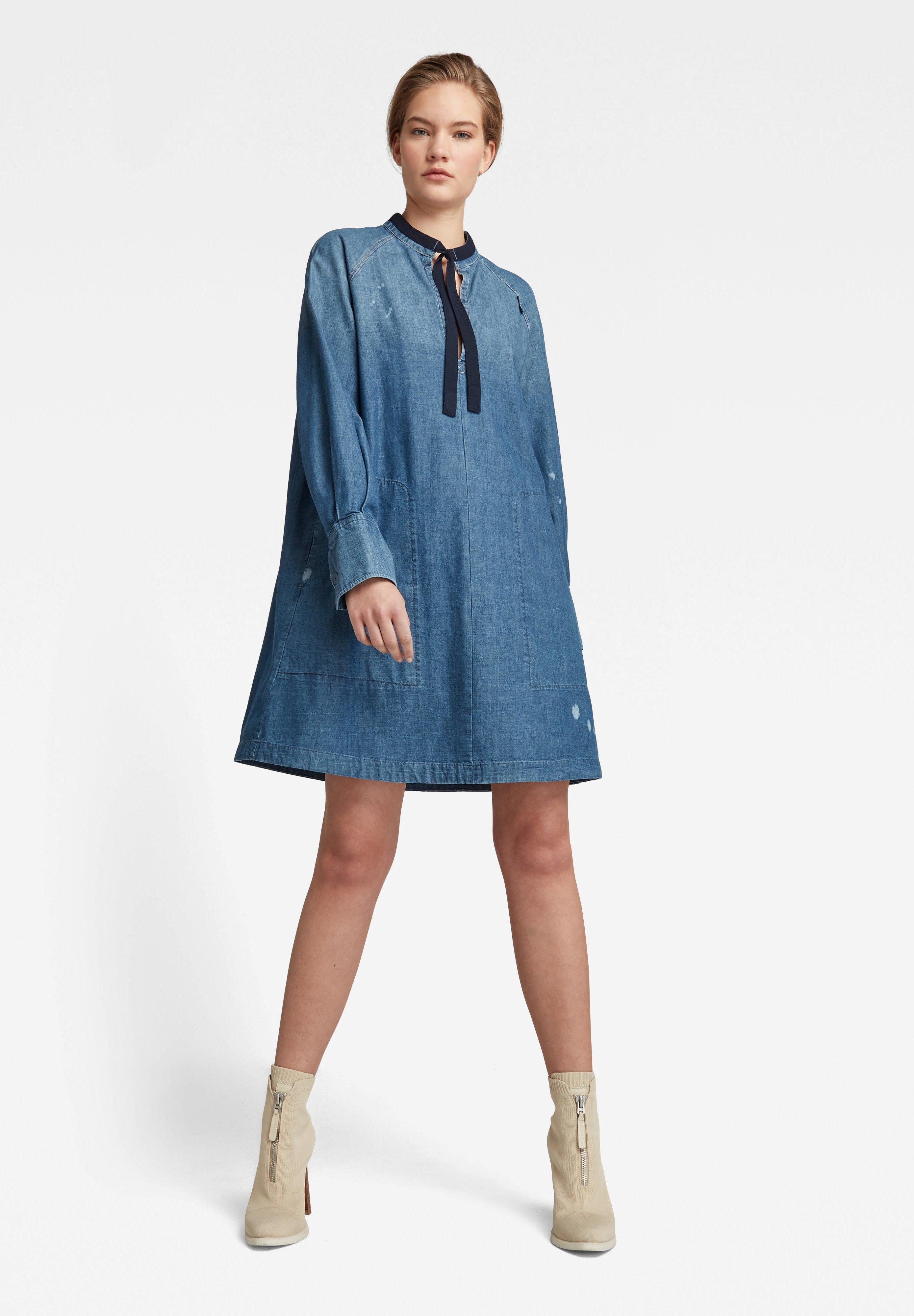 Femme V-NECK TUNIC DRESS - Robe en jean