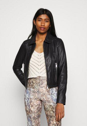 VMMAPEL SHORT JACKET - Leather jacket - black