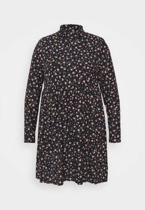 SOFT TOUCH HIGHNECK SMOCK DRESS - Day dress - black