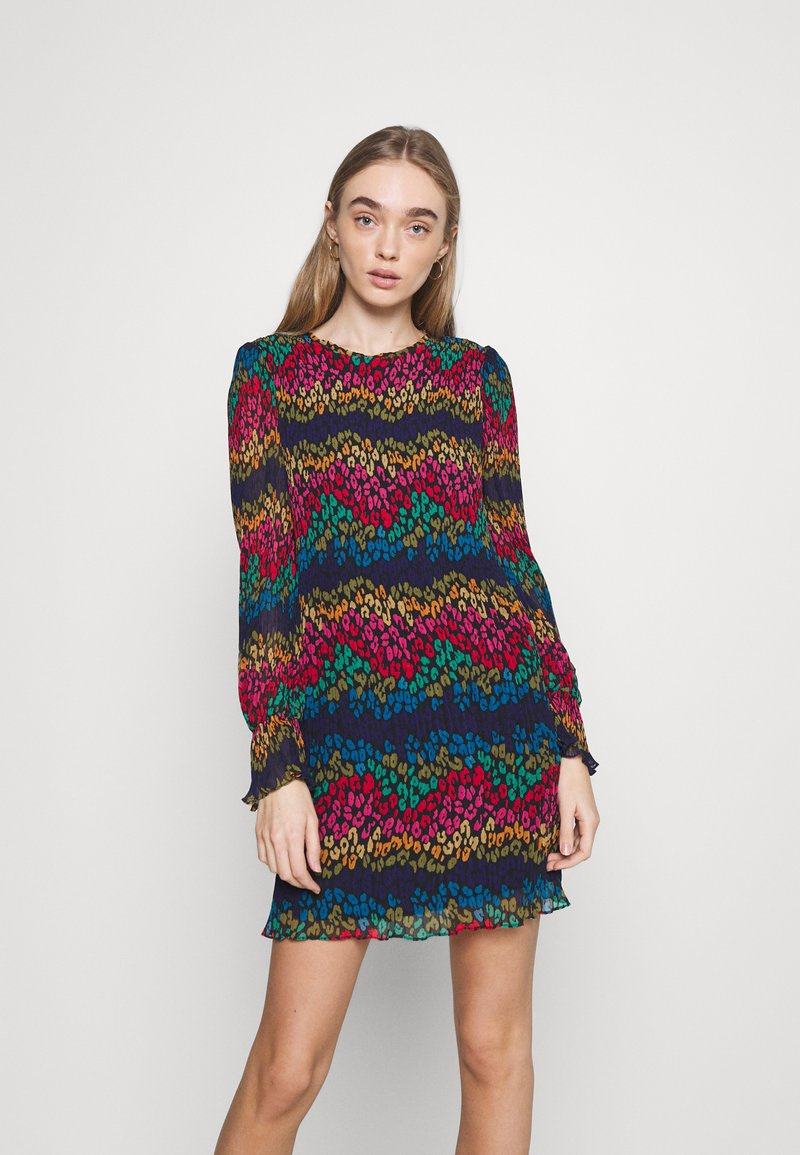Never Fully Dressed - LEOPARD PLEATED MINI - Day dress - multi
