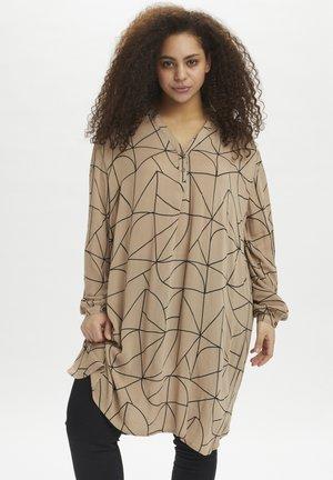 Tunic - camel / black lines print