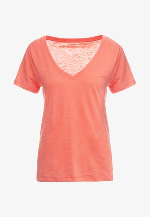 VINTAGE V NECK TEE - T-shirt basic - autumn coral