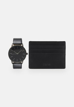 UHR CARD HOLDER /VISITENKARTENETUI GESCHENK SET /GIFT SET - Watch - black