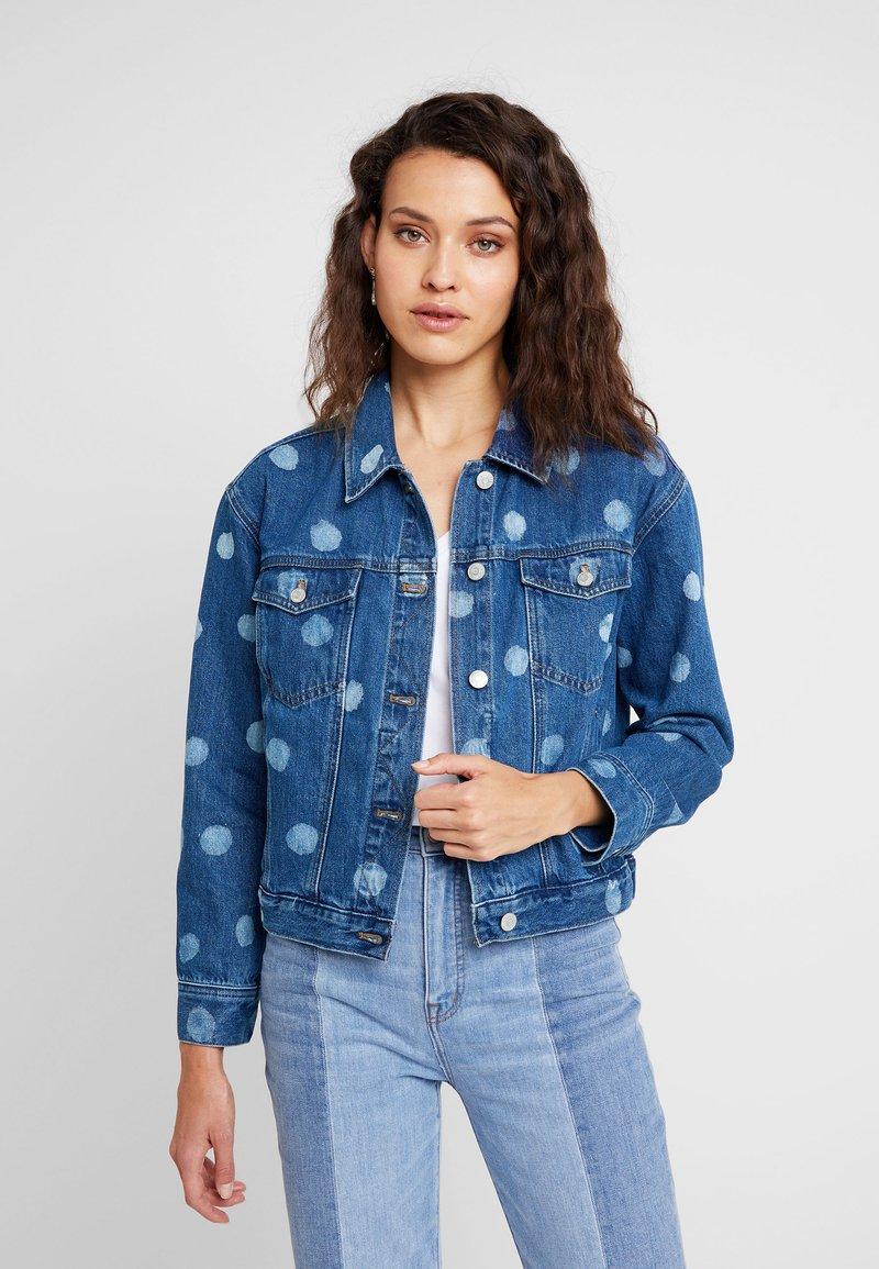 Madewell - BOXY CROPPED JACKET WITH POLKA DOTS - Denim jacket - indigo