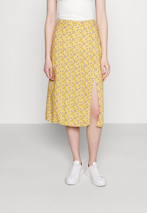 SLIP SKIRT - Gonna a campana - yellow floral