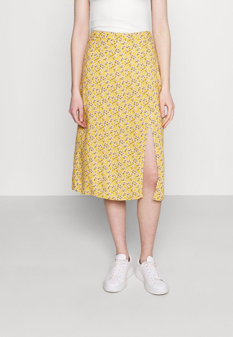 Hollister Co. - SLIP SKIRT - Gonna a campana - yellow floral