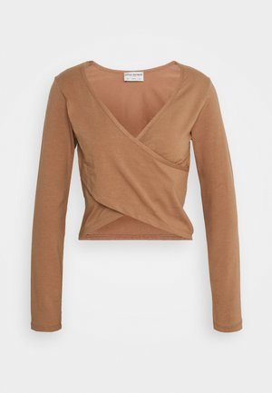 CROP CROSS OVER - Long sleeved top - camel