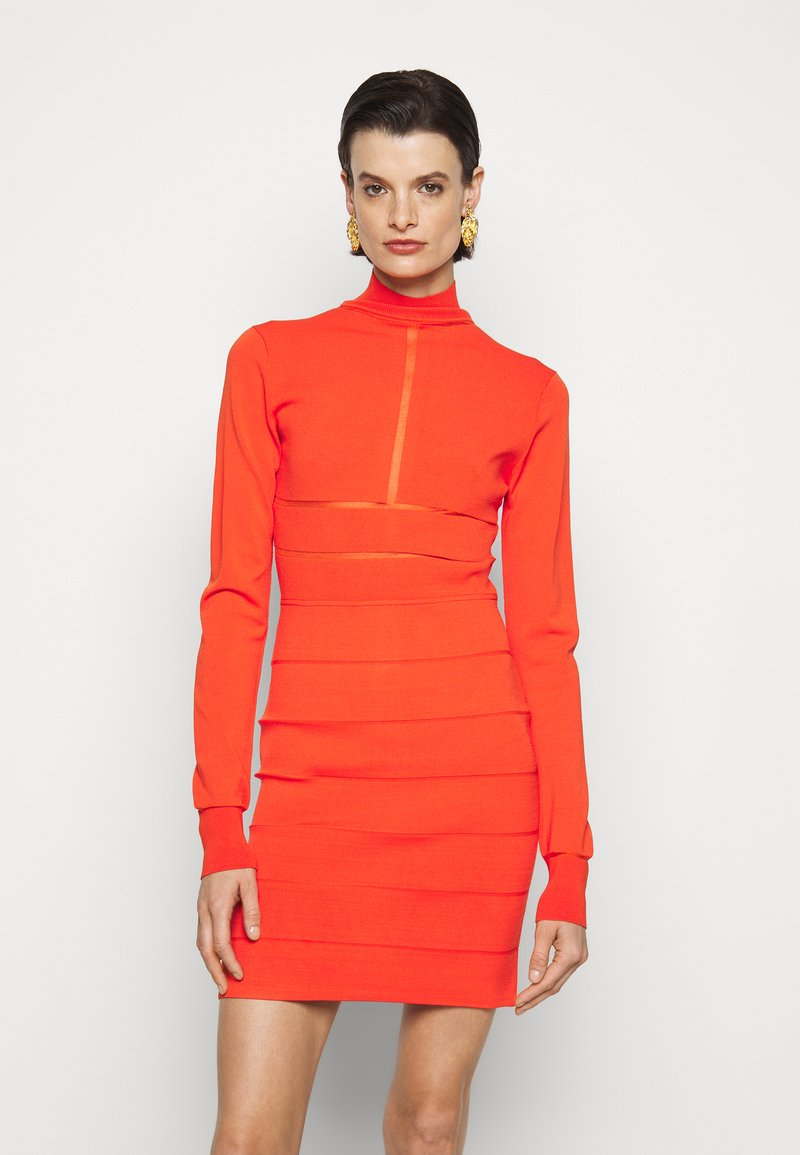 Hervé Léger - SPORTY SHEER T NECK LONG SLEEVE MINI - Shift dress - flame