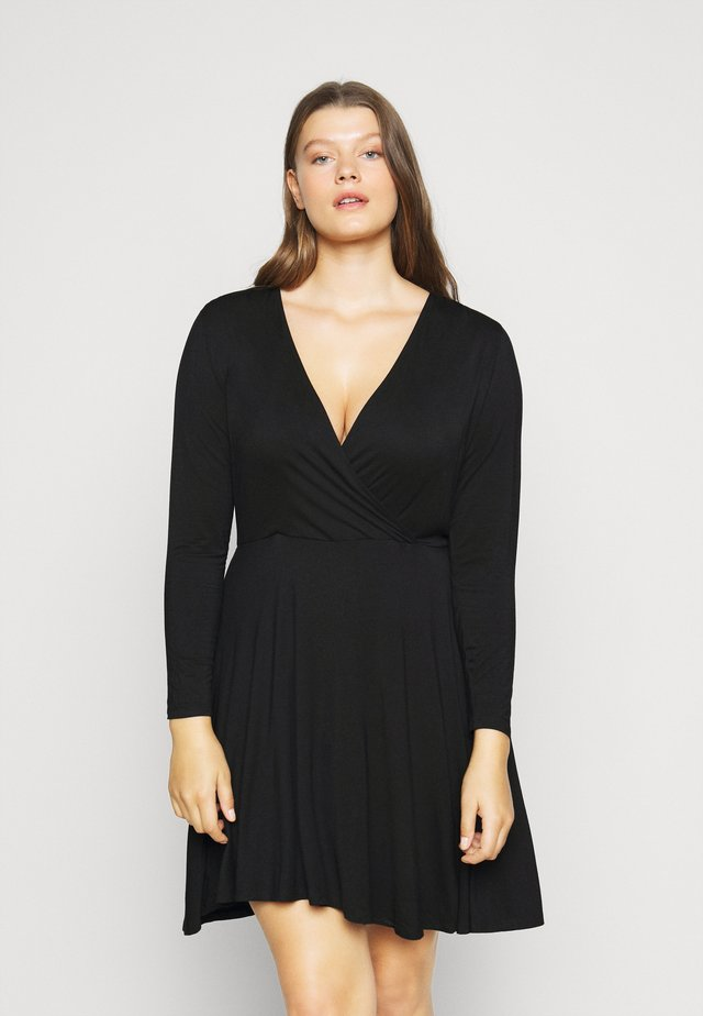 WRAP SKATER DRESS - Žerzejové šaty - black