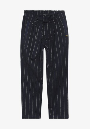 RELAXED SLIM FIT PINSTRIPE PANTS WITH BOW DETAIL - Trousers - dark blue