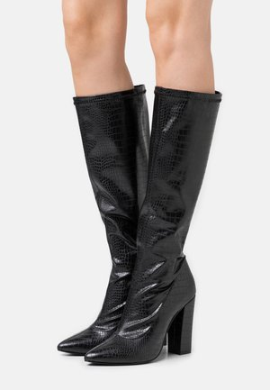 SLIP IN STRETCHY BOOT - Boots med høye hæler - black
