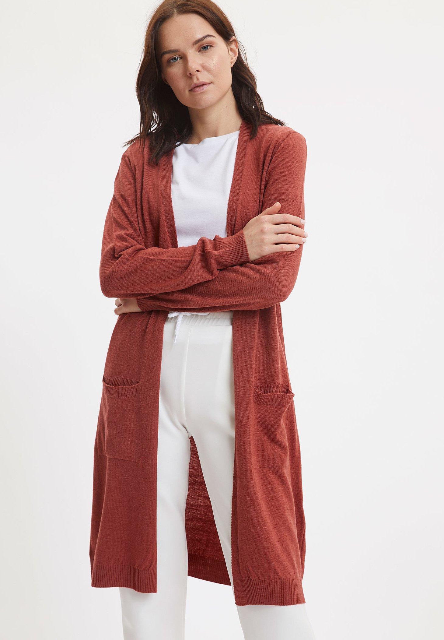 comprar chaqueta punto mujer granate roja