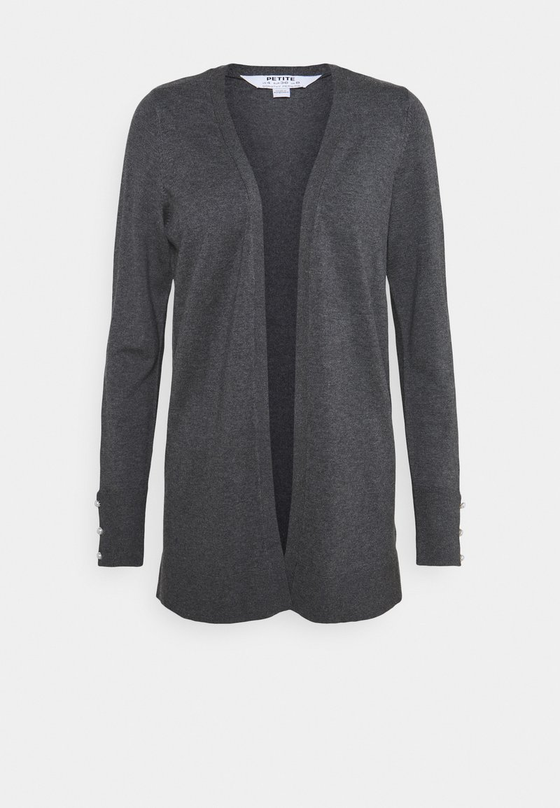 Dorothy Perkins Petite - LONGLINE BUTTON CUFF CARDIGAN - Cardigan - charcoal