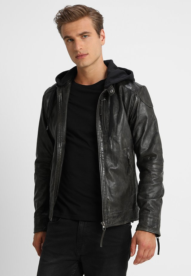 Leather jacket - dark olive