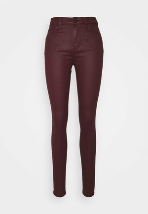 SOFT SKINNY COATED - Bukse - deep burgundy