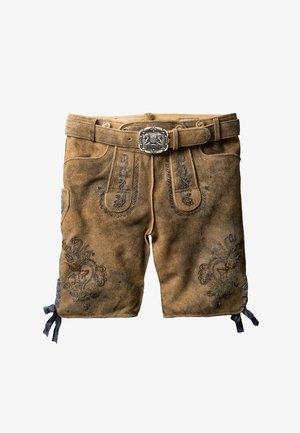 ARON - Kožené kalhoty - hanf gespeckt gelb