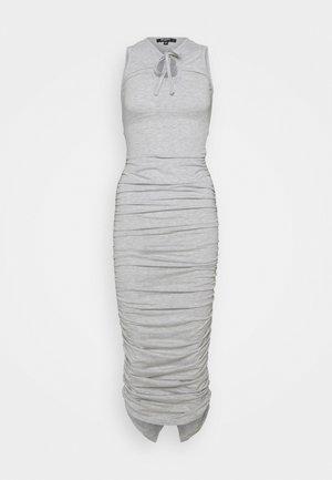 TIE NECK RUCHED MIDAXI DRESS - Maxi dress - grey