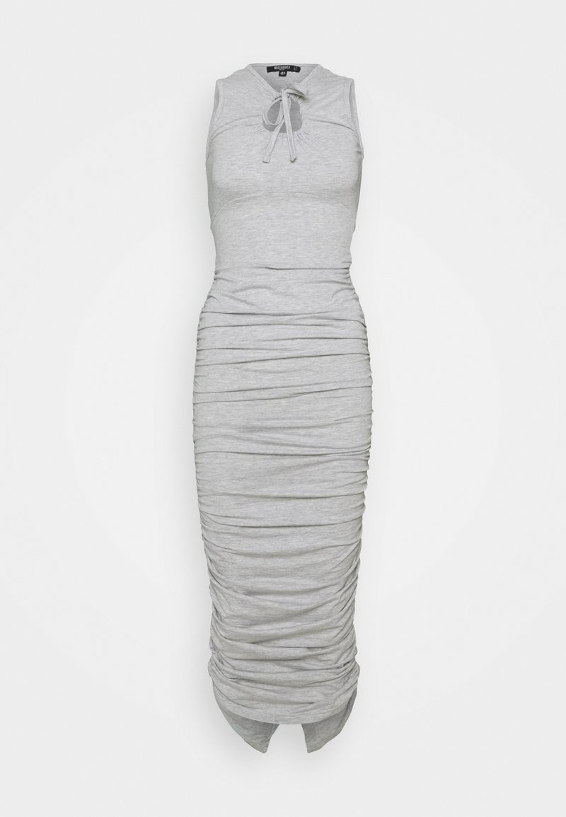 Missguided Petite - TIE NECK RUCHED MIDAXI DRESS - Maxi dress - grey