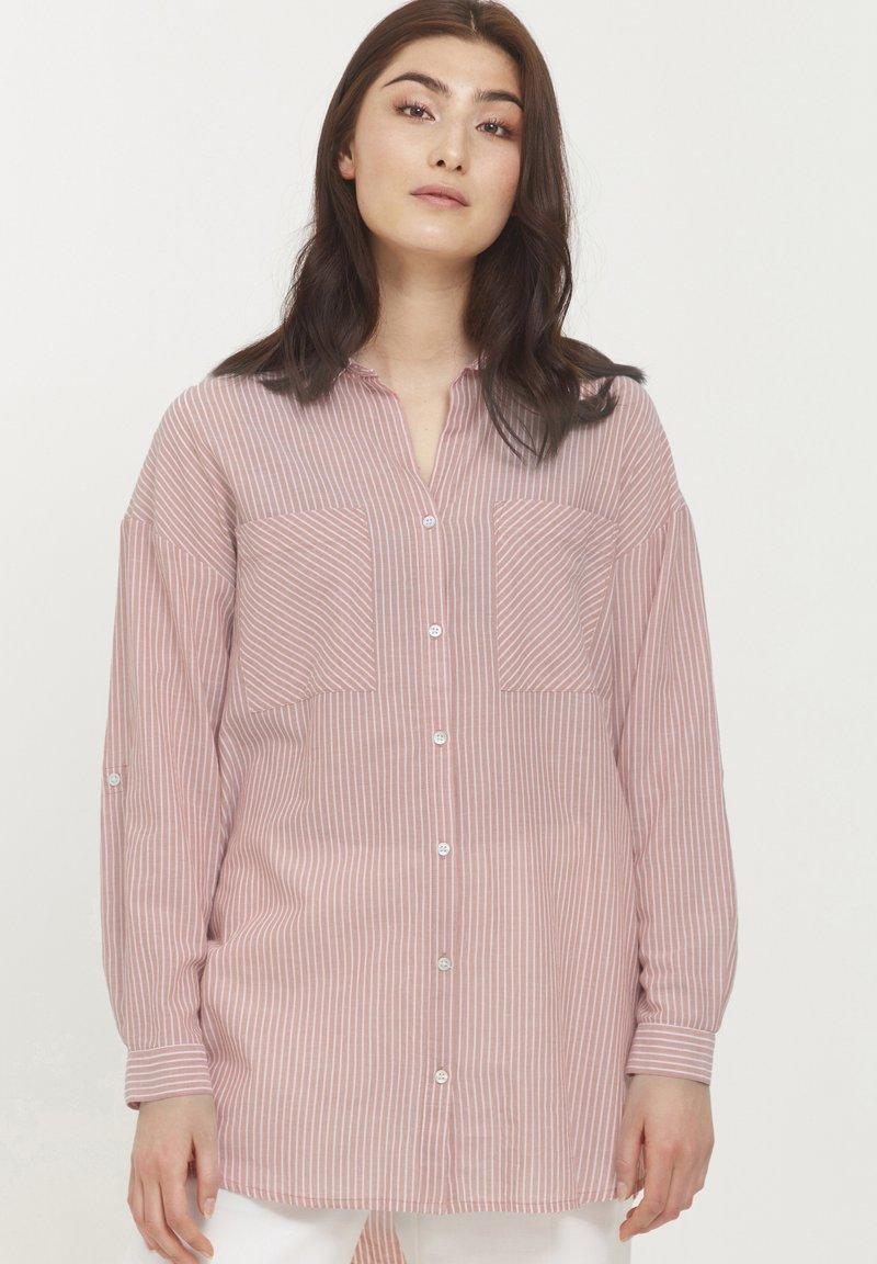 b.young - BYFIE STRIPE - Button-down blouse - canyon rose mix