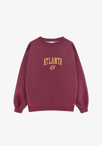 OVERSIZE MIT KONTRASTSTICKEREI - Sweatshirt - dark red