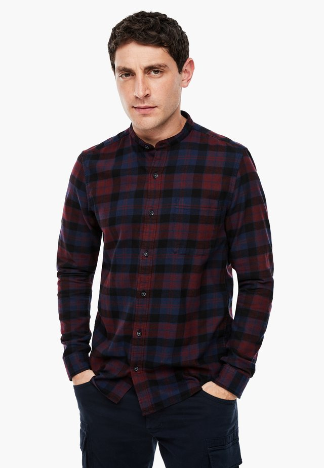 Shirt - dark red check
