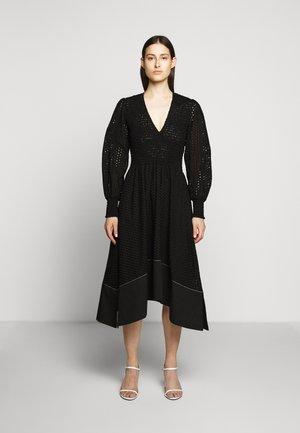 LONG SLEEVE SMOCKED TOP DRESS - Denní šaty - black