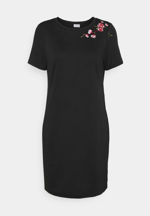 VITINNY EMBROIDERY DRESS - Jerseykjole - black/flower embroidery
