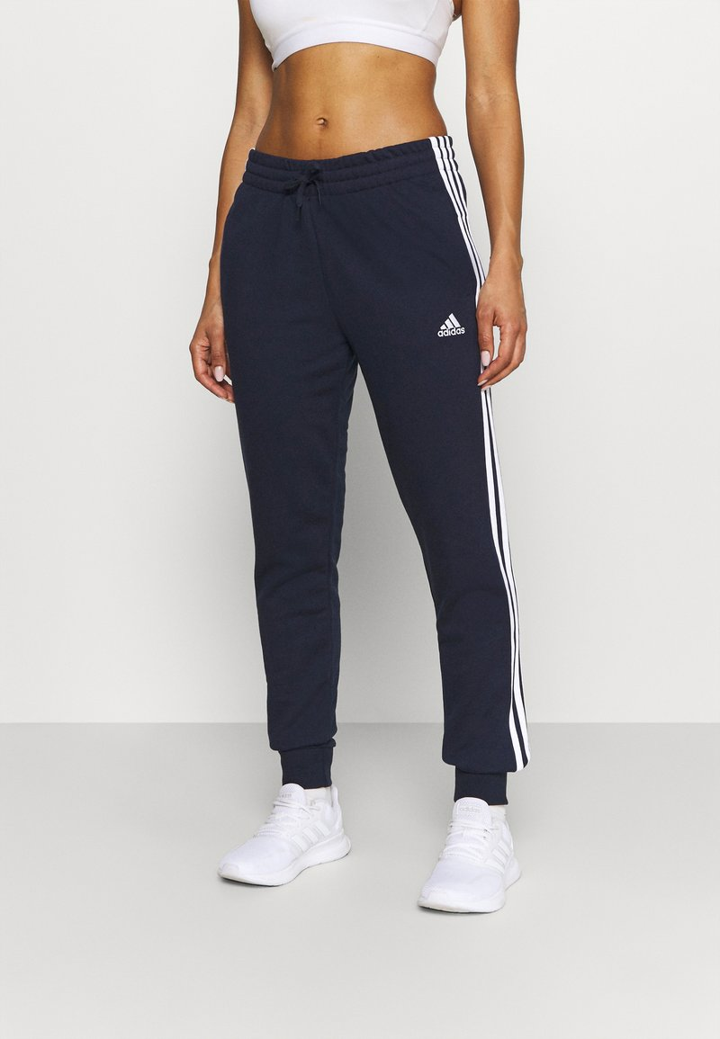 adidas Performance - ESSENTIALS FRENCH TERRY STRIPES PANTS - Tracksuit bottoms - legend ink/white