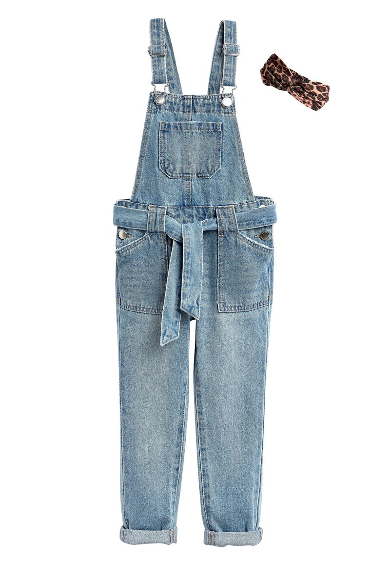 Next - DENIM TIE WAIST DUNGAREES WITH HEADBAND (3-16YRS) - Dungarees - blue